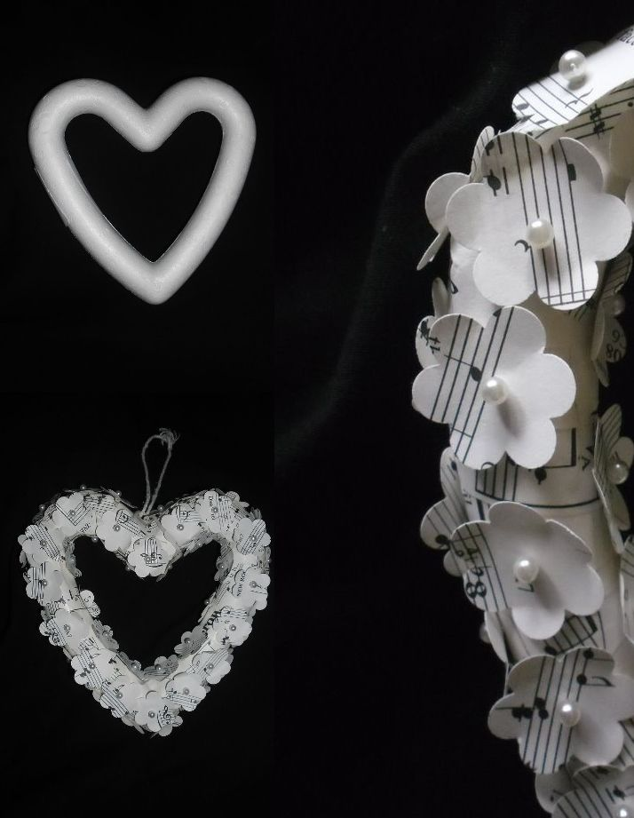after, polystyrene heart covered in sheet music  flowers and bridal pins + close up