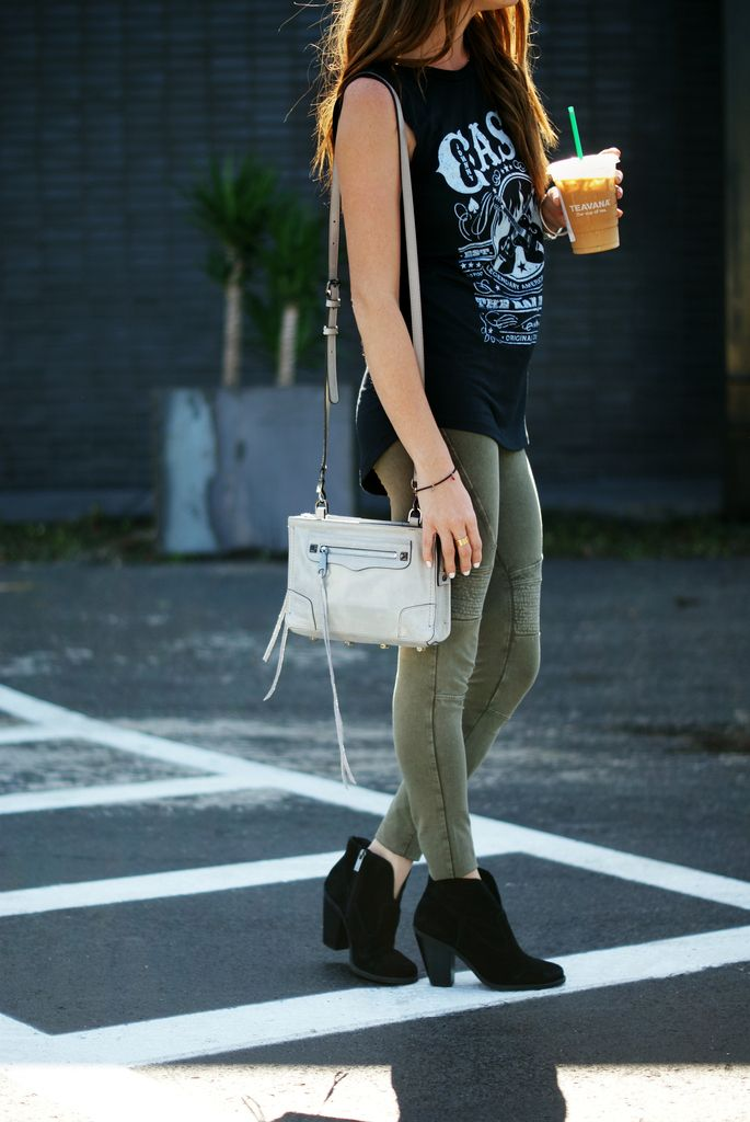 moto leggings with booties and a tank | edgy casual outfit