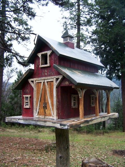 Notice the details on this red barn birdhouse.