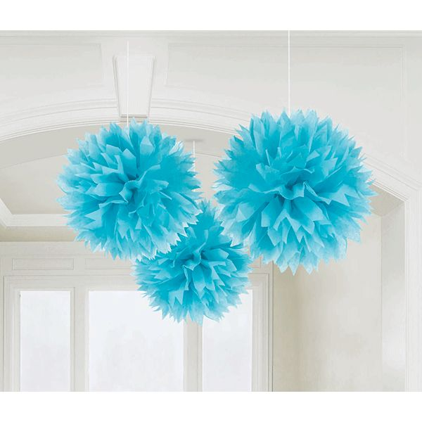 Caribbean Blue Fluffy Tissue Decorations 16in 3ct