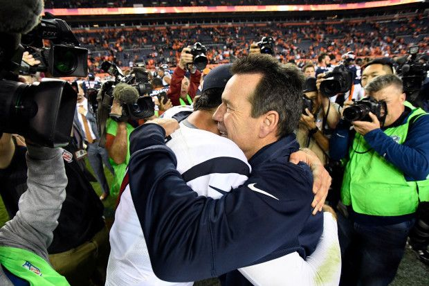 Monday Night Football: Texans vs. Broncos:     October 24, 2016  -  27-09, Broncos  -      Houston Texans quarterback Brock Osweiler (17) gets a hug from Denver Broncos head coach Gary Kubiak after the game October 24, 2016 at Sports Authority Field at Mile High Stadium. The Broncos defeated the Texans 27-9. John Leyba, The Denver Post