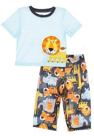 Carters Boys Blue Safari Animal 2 Piece Pajama Set 2t-5t.