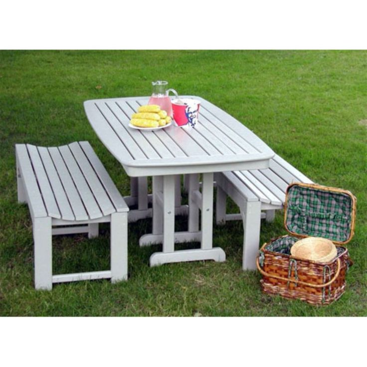 POLYWOOD® Nautical 3 pc. Recycled Plastic Outdoor Bench Dining Set - PW072