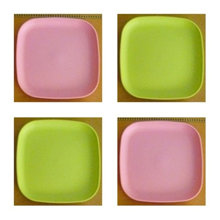 Tupperware Free Ship New 4 Dishes Square Classic Plates Raised Edges Pink Green #Tupperware