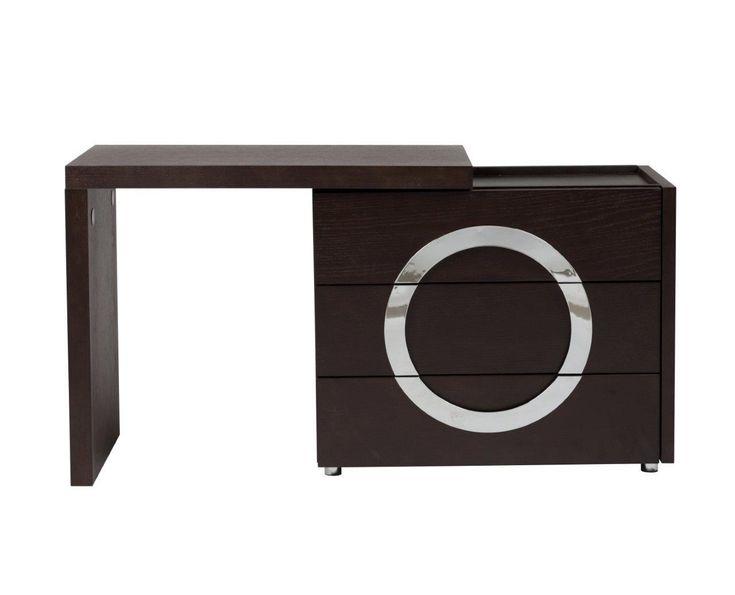 Туалетный столик Towens отлично подходит для современной леди, которая любит выглядеть красиво и ценит удобство в интерьере. Отличающийся оригинальным и выразительным дизайном раздвижной туалетный столик в благородном коричневом цвете гармонично впишется в интерьер в стиле модерн. Спереди он имеет три функциональных отделения, посередине расположен декор в форме круга серебристого цвета. Благодаря удобной столешнице и трем выдвижным ящикам все необходимые вещи и мелочи можно будет хранить в…