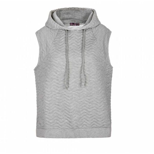 Ally Fashion Quilted chevron sleeveless hoodie ($19) ❤ liked on Polyvore featuring tops, hoodies, sweatshirts hoodies, chevron print tops, hooded pullover, hooded sweatshirt and sleeveless hoodies