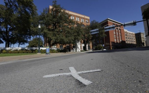 U.S. DALLAS, TX. One of the 'X's that mark the spots on the street where President John F. Kennedy was assassinated in Nov. 22, 1963.