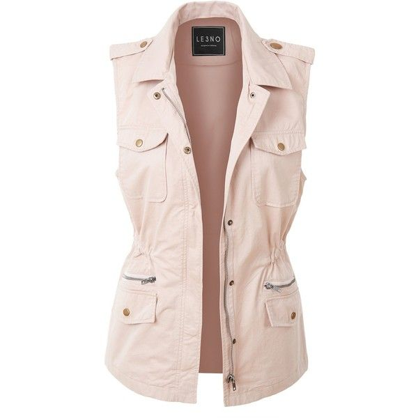 LE3NO Womens Lightweight Sleeveless Military Anorak Vest (28 NZD) ❤ liked on Polyvore featuring outerwear, vests, military style vest, pink anorak jacket, military vests, lightweight anorak and military anorak jacket