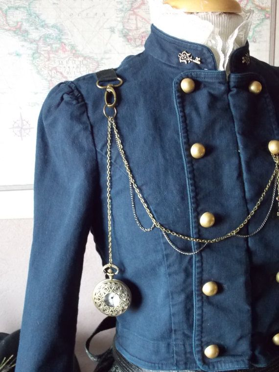 Navy Blue Steampunk Victorian 3 Piece Outfit by theravenandrose, $128.00