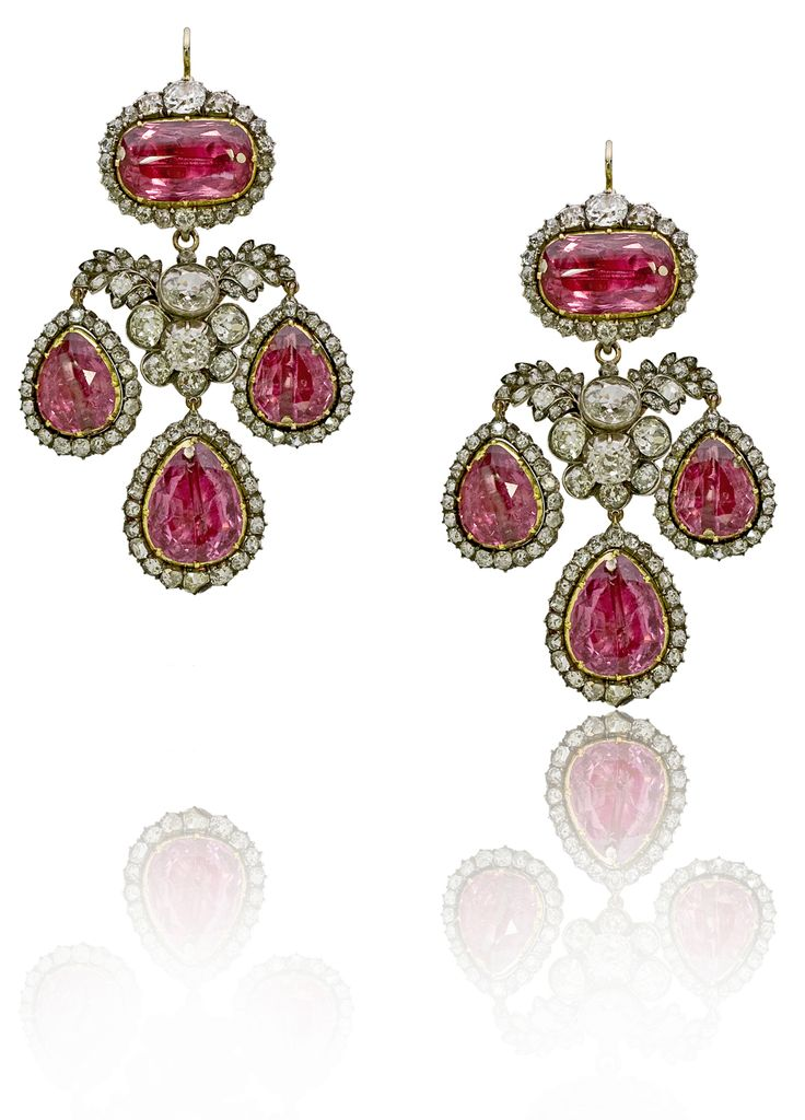 Angara Classic Pear Garnet and Diamond Flowerhead Cluster Earrings White Gold uUsvukCrt
