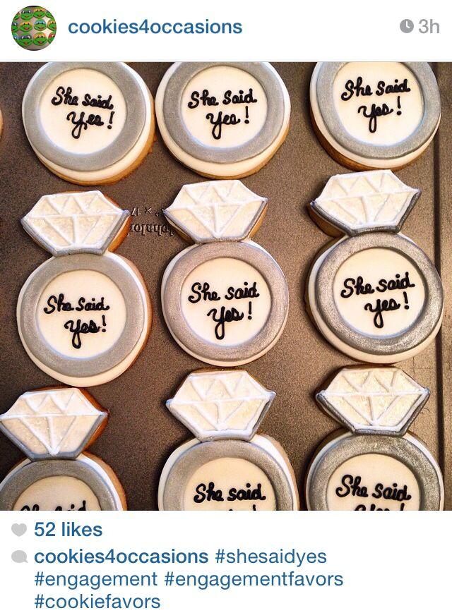 Wedding ring she said yes sugar cookies