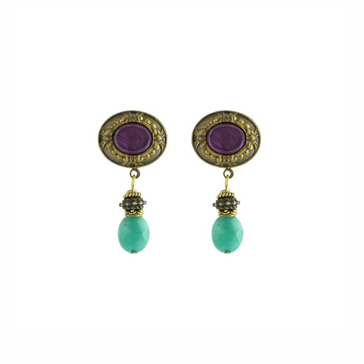 Jade and plum brass earrings (British Museum exclusive) at British Museum shop online