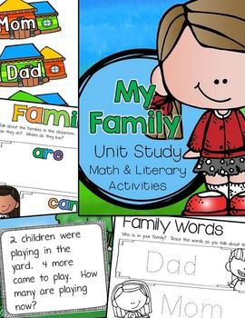 """My Family Learning Unitis a PreK and Kindergarten EARLY beginners step into Project Based Learning (PBL). This """"research"""" unit includes math and literacy activities/centers. A list of family books is NOT included, but can easily be found in a school library or just through conversation during the lesson."""