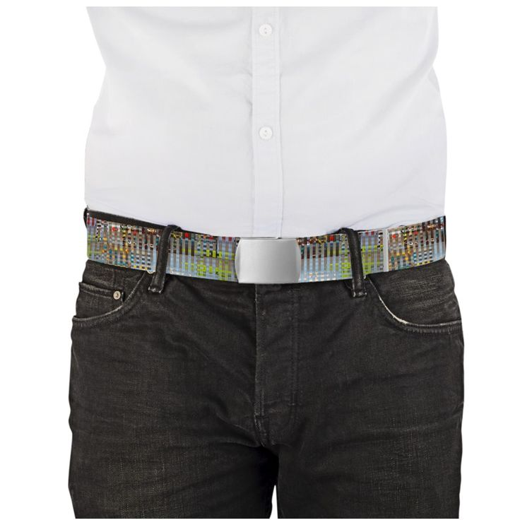 """""""Consumismo""""  - Length 120 cm X 3.8 cm Choice of buckle: black or metal. The belts are printed on both sides."""