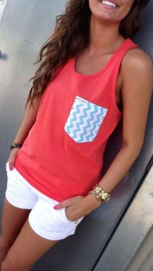 Dark Coral & Chevron Pocket. Would be great for the ballpark this summer!