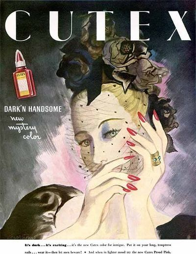 "1934 Cutex nail polish ad for their latest color ""Dark & Handsome""."