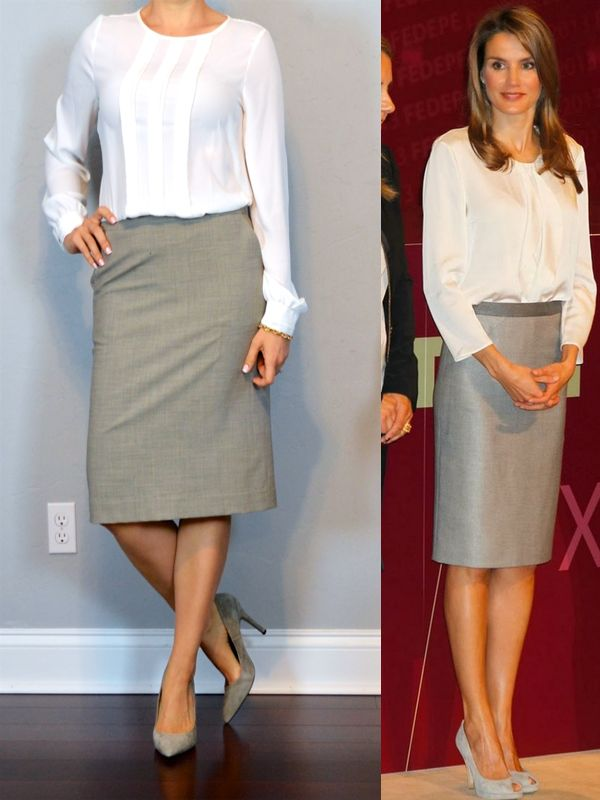 outfit post: white long sleeved blouse, grey pencil skirt ... - 135 Best Images About Pencil Skirts On Pinterest Belt, Pencil