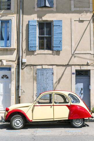 France, Provence Alps Cote D'Azur, Saint Remy De Provence. Street View with Old Fashioned 2Cv Car Muurposter