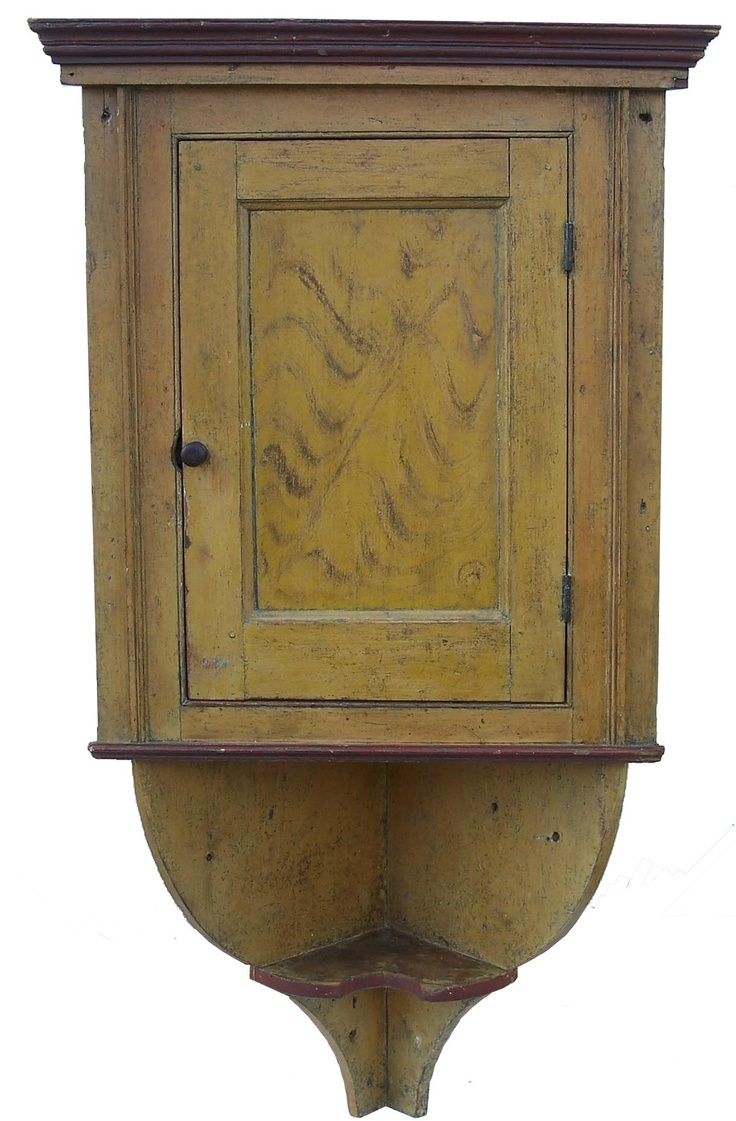 X545 Late 18th century York Co. Pennsylvania Hanging Corner Cupboard, with  an extending tail · Antique FurniturePrimitive ... - 102 Best Antique Painted Hanging Cupboards Images On Pinterest