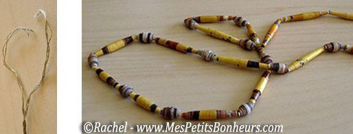 collier ethnique perles papier