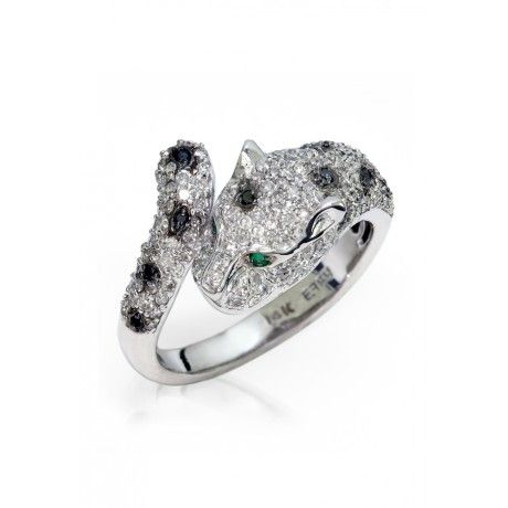 Effy Signature 14K White Gold Diamondand Emerald Ring, 0.90 TCW