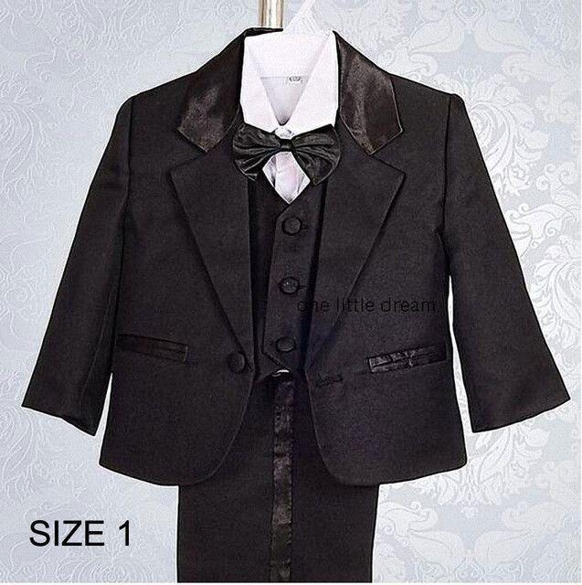Kids/Children Black Formal Boys Wedding/Tuxedo Suits Boy Blazer Suit Mariages/Perform Dress Costume Infants Blazer 5 pcs/set