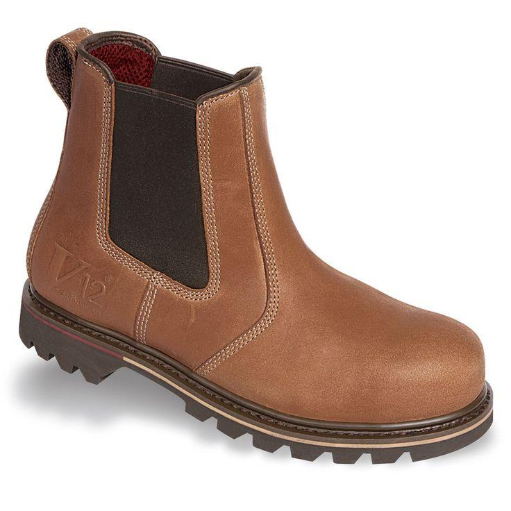 V12 Stampede V1241 Vintage Brown Leather Safety Dealer Boots