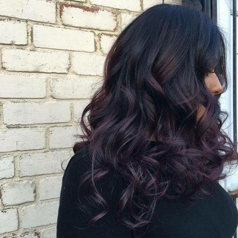 Black hair with a rich dark and deep purple balayage - yum. Coloured hair by Aimee @ Gray's Salon in Leeds, click through to get booked in.