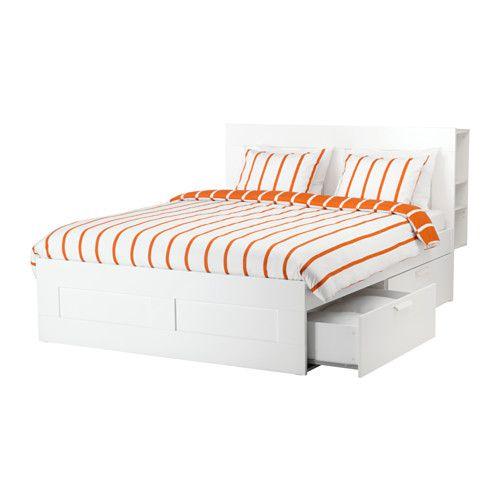 BRIMNES Cadre de lit+rangement/tête de lit, blanc, Luröy 160x200 cm Luröy