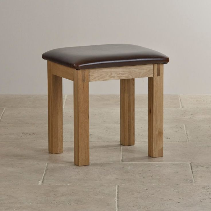 Alto Natural Solid Oak Leather Dressing Table Stool