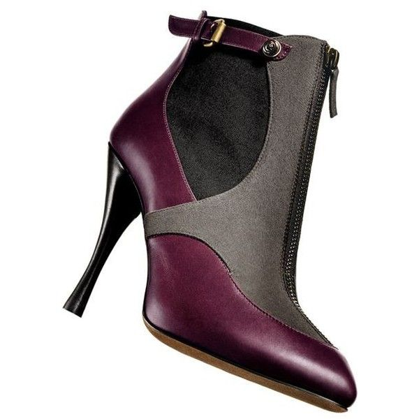 "TABITHA SIMMONS Burgundy leather/taupe suede/black canvas ""elisa""... ❤ liked on Polyvore featuring shoes, boots, ankle booties, taupe suede booties, taupe booties, suede booties, leather booties and black leather bootie"