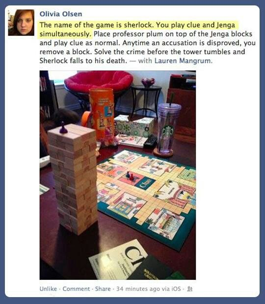 The Sherlock Game: Clue and Jenga ...I need more sherlocked friends so we can play this.