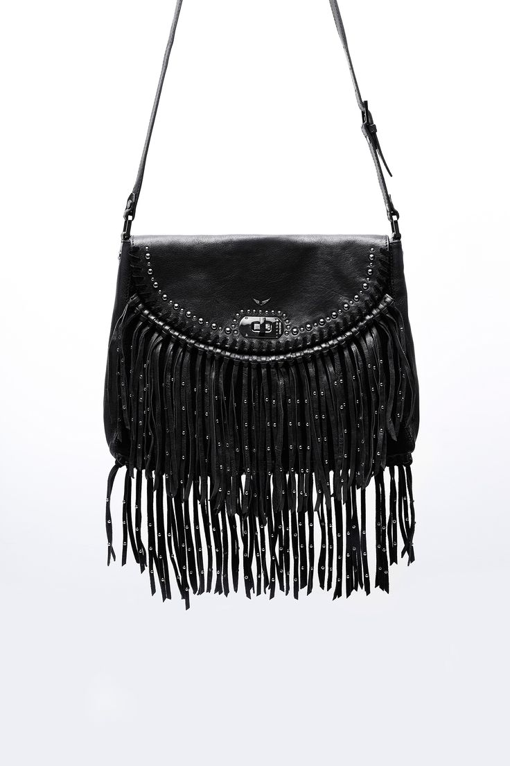 Zadig & Voltaire messenger bag, studded fringe, studded design on flap…