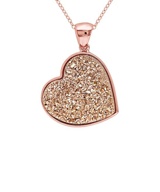 Rose Druzy & Pink Sterling Silver Heart Pendant Necklace