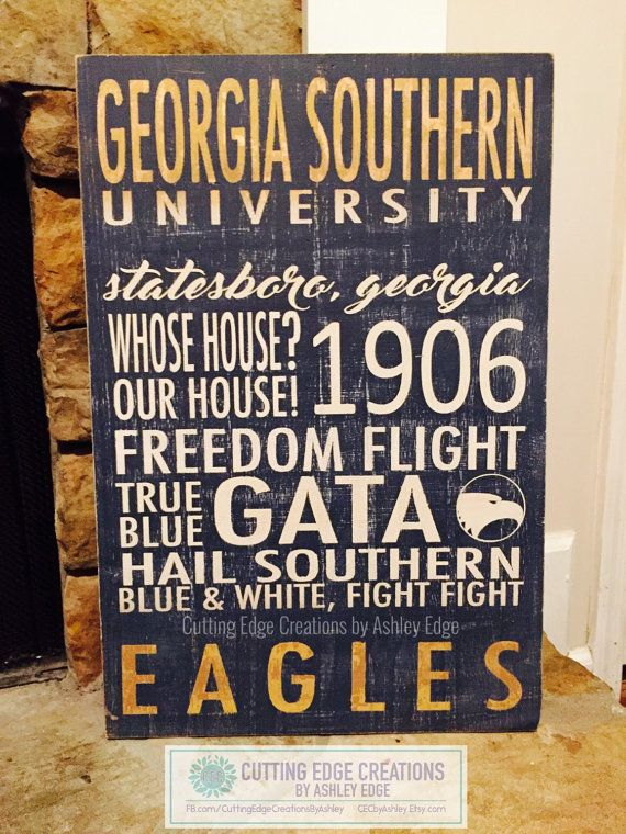 Georgia Southern University Hand Painted Wood Sign  by CECbyAshley