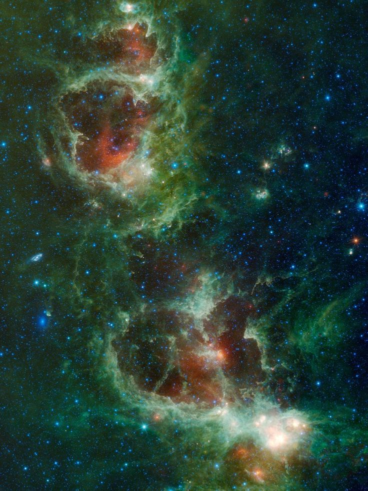 The Heart and Soul nebulae are seen in this infrared mosaic from NASA's Wide-field Infrared Survey Explorer, or WISE. The image covers an area of the sky over ten times as wide as the full moon, and eight times as high (5.5 x 3.9 degrees), in the constellation Cassiopeia.