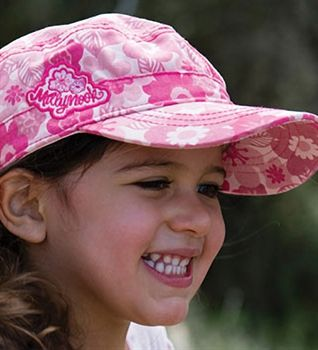 Girls Hippy Mao » MikyB. Maos are all the rage. This hat is soft 100% cotton with the most goreous floral pink & green print. The hat is adjustable at the back. There is a hole at the back that allows for a ponytail to fit through.