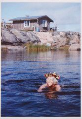 Tove Jansson photo postcard - SWIMMING IN THE SUMMER