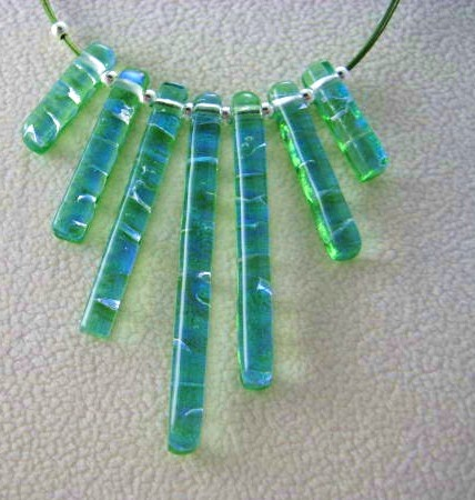 7-Bar Ice Green Dichroic Glass Necklace