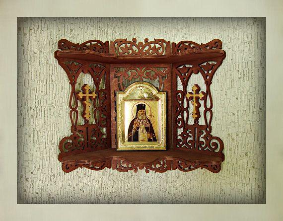 Wooden Shelf for Icons Christian Home Altar Carved Shelf Gift
