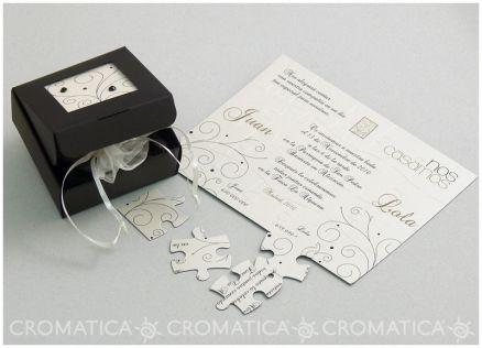 Invitación de boda - CAJA NEGRA CON PUZZLE