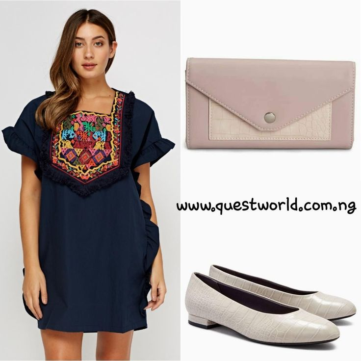 Embroidered Frilled Box Dress blue size 8 10 12 14 #7000 Next pale pink purse #7000 Grey croc effect high cut ballerinas size 39 40 41 42 #13500 www.questworld.com.ng www.konga.com/QUEST-WORLD-BOUTIQUE 📲08025462685