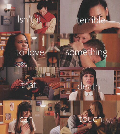 "5.03 The Quarterback ~ one of the hardest episodes I've sat through in awhile. Saying goodbye to Finn. I cried several times throughout, but really lost it good during Rachel's scene near the end. ""He was my person."""