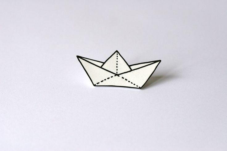 White plastic paper boat brooch by VoodoooChild on Etsy, $6.00