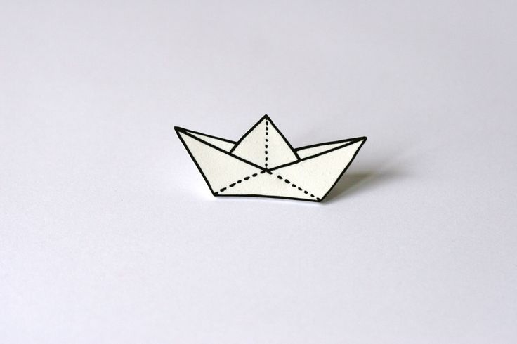 White plastic paper boat brooch by VoodoooChild on Etsy, $6.00