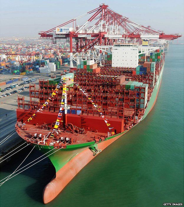 Owned by Mediterranean Shipping Company, built by Daewoo in South Korea     395.4m long, 30.3m deep and 59m in breadth; gross tonnage 193,000 tons     The Oscar will fly under a Panamanian flag and service trade routes between Asia and Europe http://www.bbc.com/news/magazine-30696685 CSCL Global