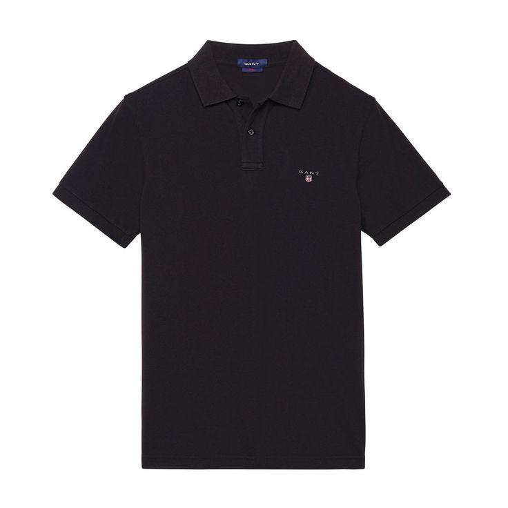 Gant Polo GANT SOLID Black T-Shirt - 4 #GantPolo