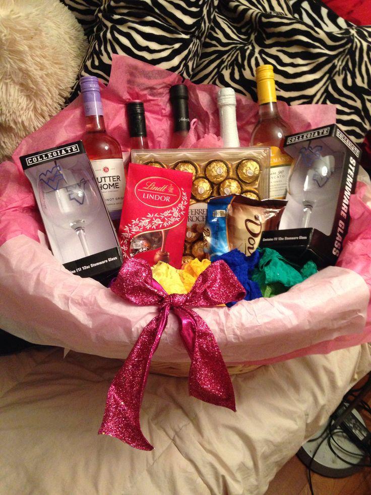 diy bridal shower gift basket wine chocolate lingerie for the honey moon