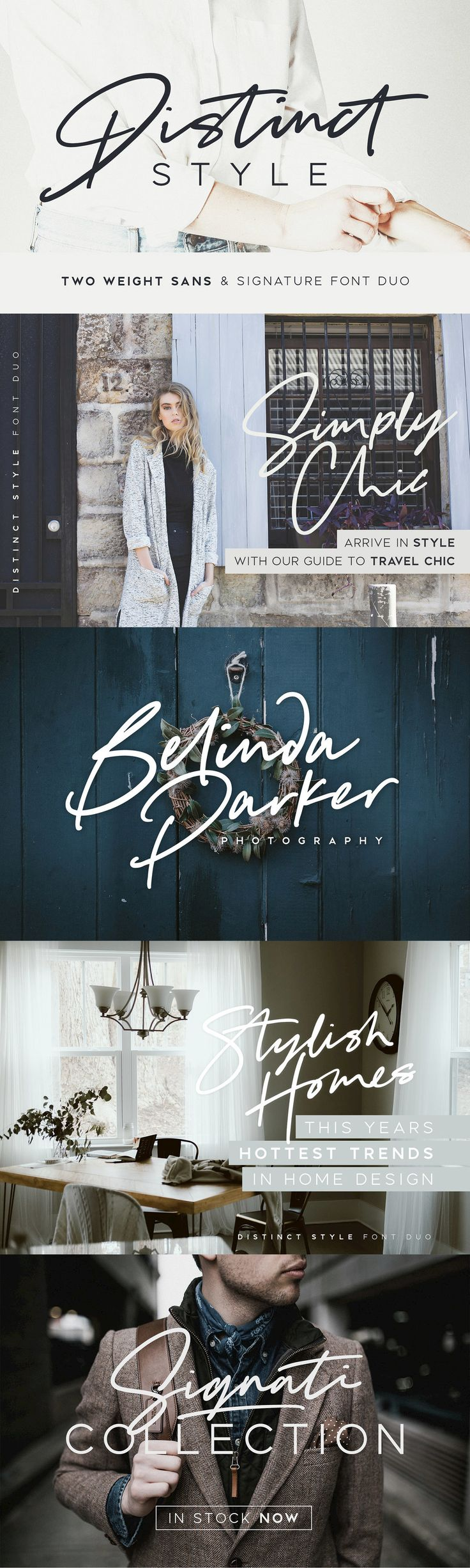 Distinct Style Font Duo - Get stylish with Distinct Style, a fashionable and contemporary pair of signature & sans fonts designed to perfectly compliment one another. With a fast-flowing script font and a two-weight modern sans serif, the Distinct Style duo offers typographic harmony for your professional design projects, including; logos, branding, magazines, blog posts, social media, advertisements & product designs.  Your download will receive 5 font files, designed to work as perfect…