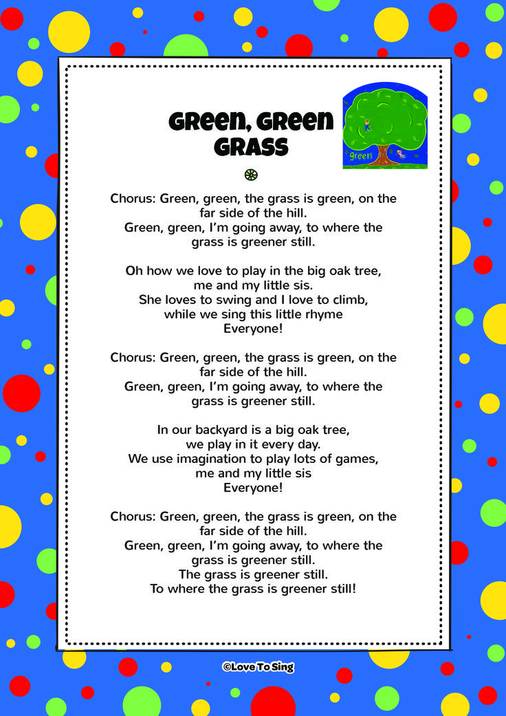 "Download this popular kids video song ""Green Green Grass"" With FREE with lyrics & fun activities. On YouTube or listen on itunes or Spotify"